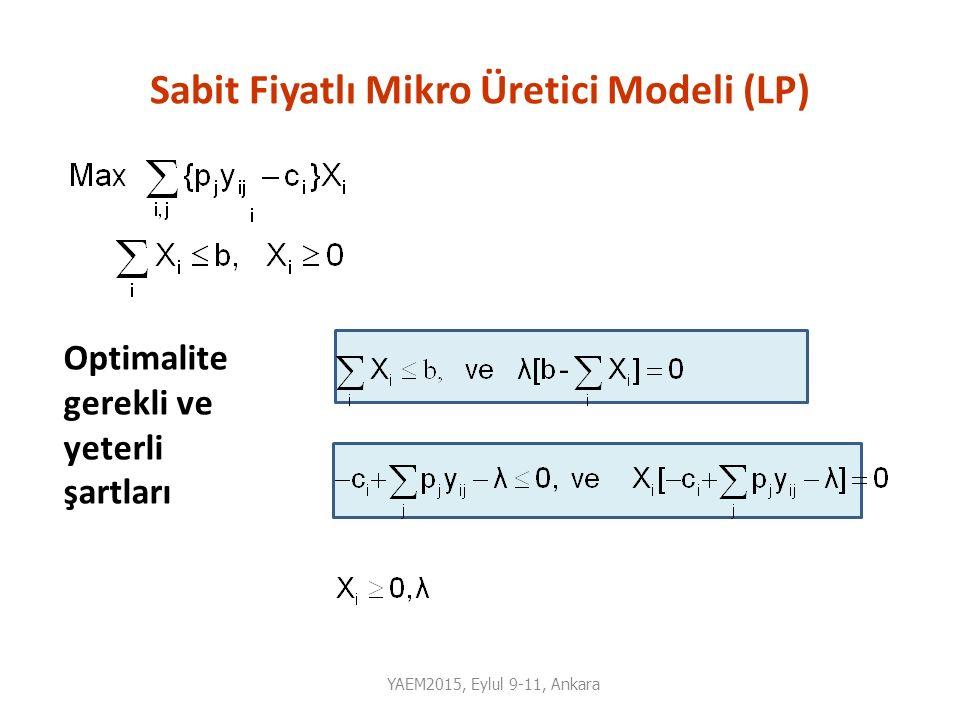 Sabit Fiyatlı Mikro Üretici Modeli (LP)