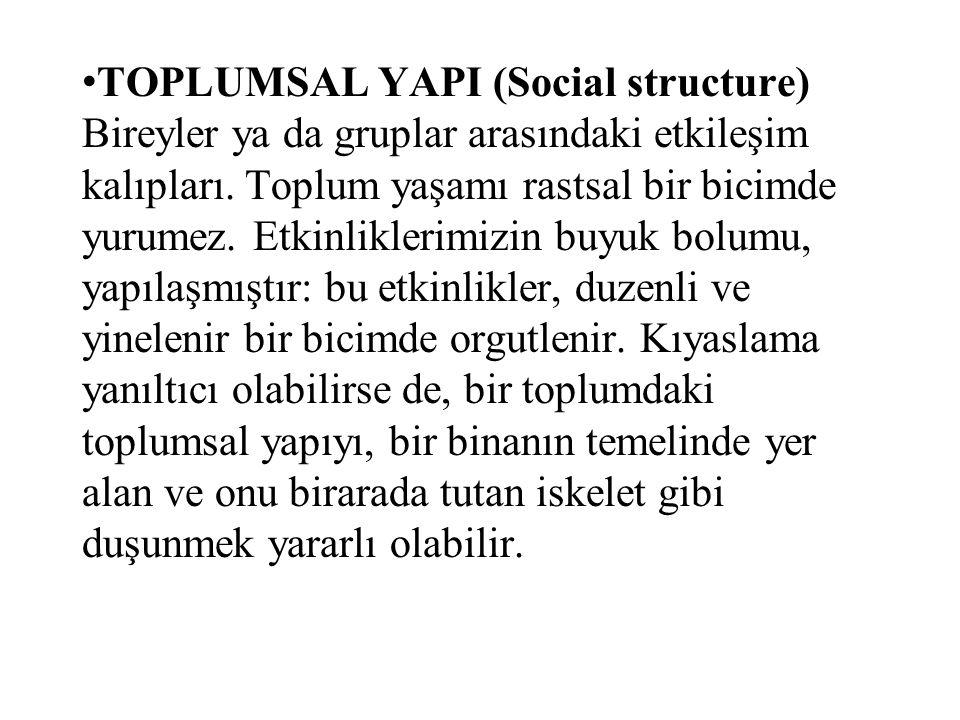 TOPLUMSAL YAPI (Social structure) Bireyler ya da gruplar arasındaki etkileşim kalıpları.