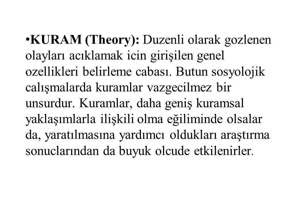 KURAM (Theory): Duzenli olarak gozlenen olayları acıklamak icin girişilen genel ozellikleri belirleme cabası.