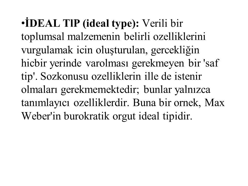 İDEAL TlP (ideal type): Verili bir toplumsal malzemenin belirli ozelliklerini vurgulamak icin oluşturulan, gercekliğin hicbir yerinde varolması gerekmeyen bir saf tip .
