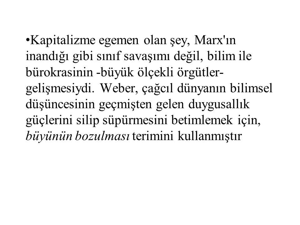 Kapitalizme egemen olan şey, Marx ın inandığı gibi sınıf savaşımı değil, bilim ile bürokrasinin -büyük ölçekli örgütler- gelişmesiydi.