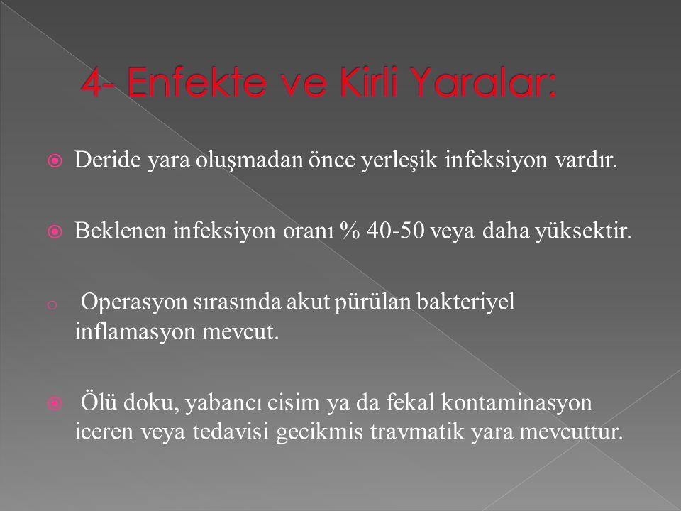 4- Enfekte ve Kirli Yaralar: