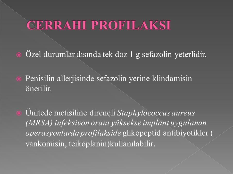 CERRAHI PROFILAKSI Özel durumlar dısında tek doz 1 g sefazolin yeterlidir. Penisilin allerjisinde sefazolin yerine klindamisin önerilir.
