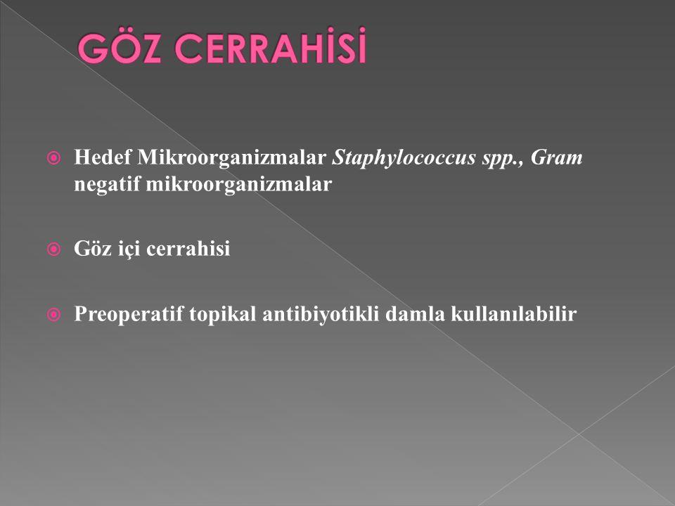 GÖZ CERRAHİSİ Hedef Mikroorganizmalar Staphylococcus spp., Gram negatif mikroorganizmalar. Göz içi cerrahisi.