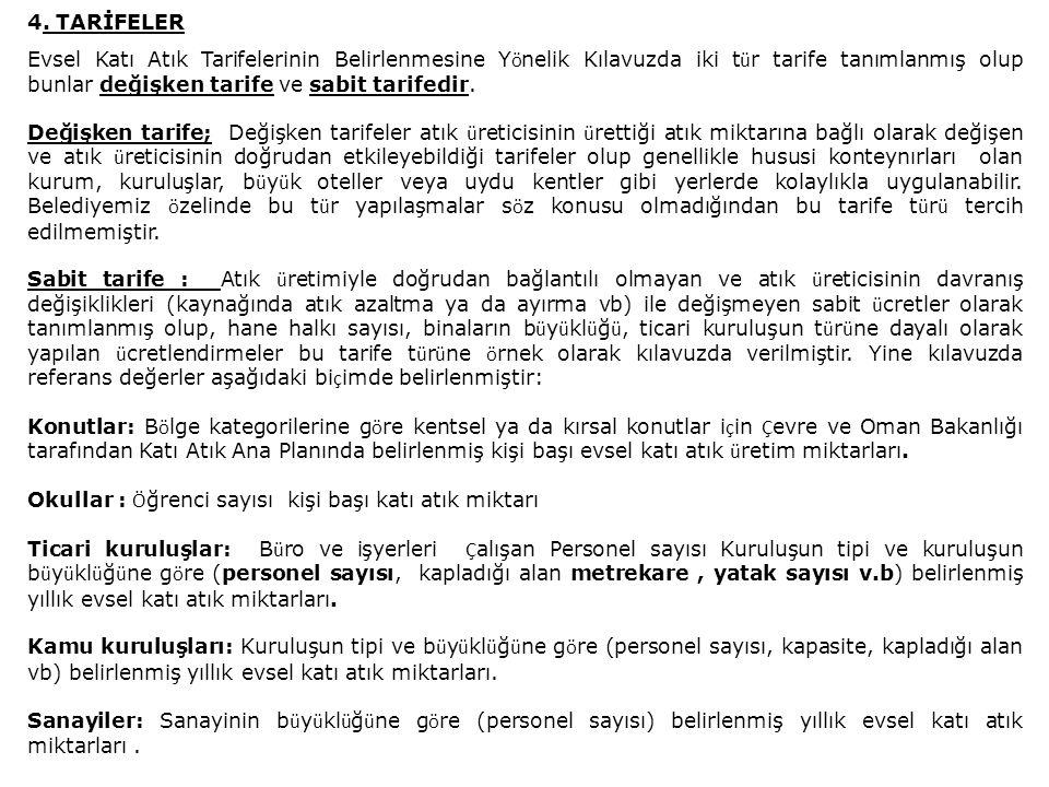 4. TARİFELER