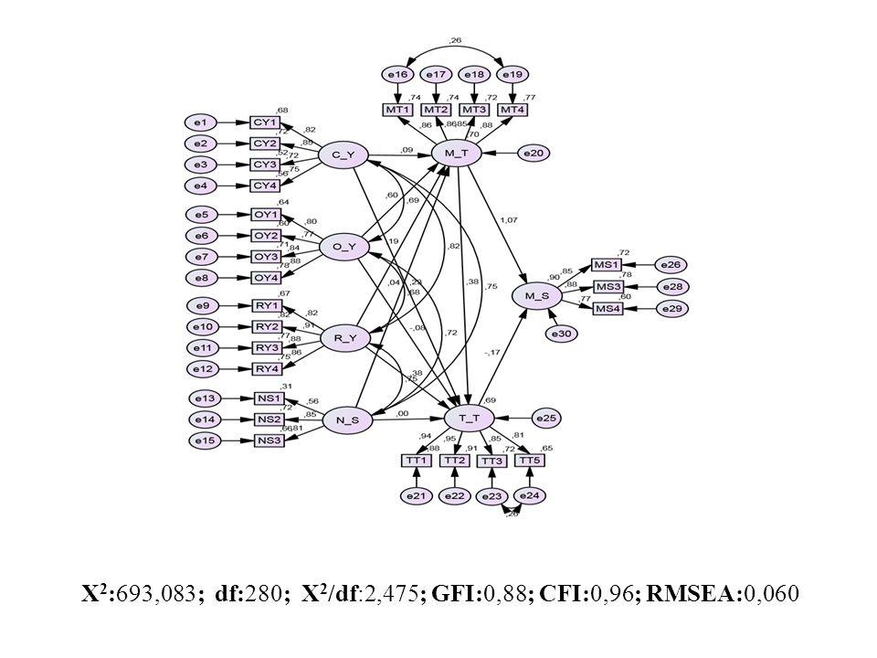 X2:693,083; df:280; X2/df:2,475; GFI:0,88; CFI:0,96; RMSEA:0,060