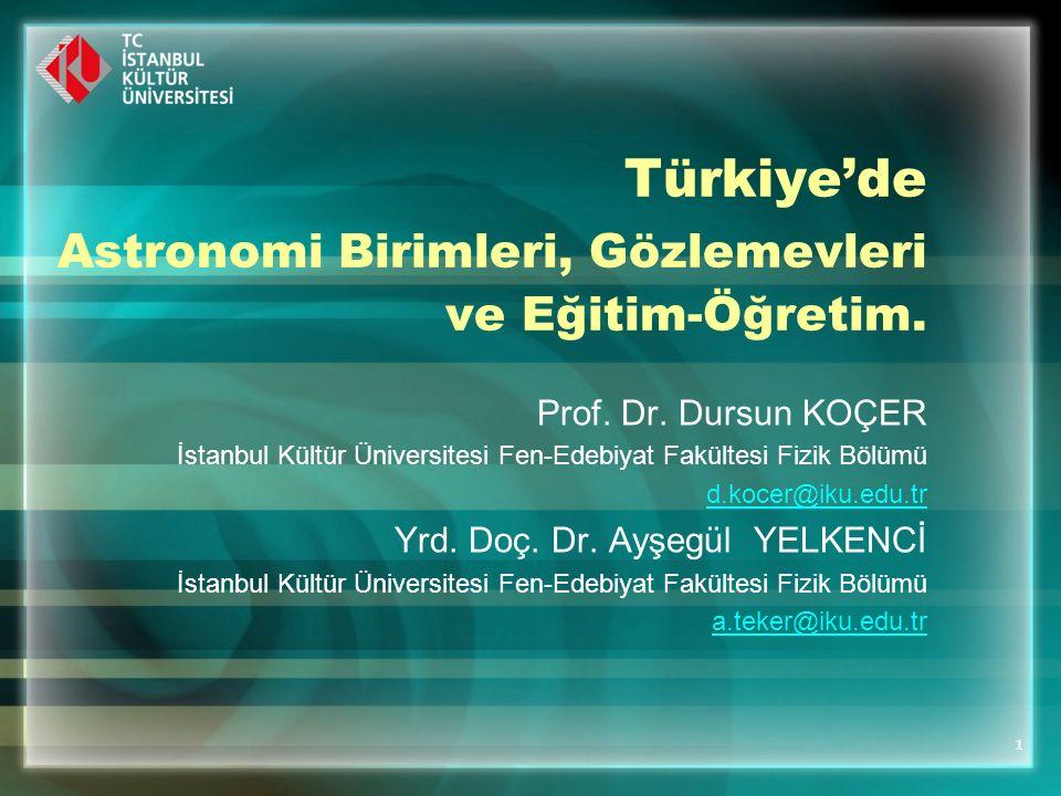 Türkiye'de Astronomi Birimleri, Gözlemevleri ve Eğitim-Öğretim.