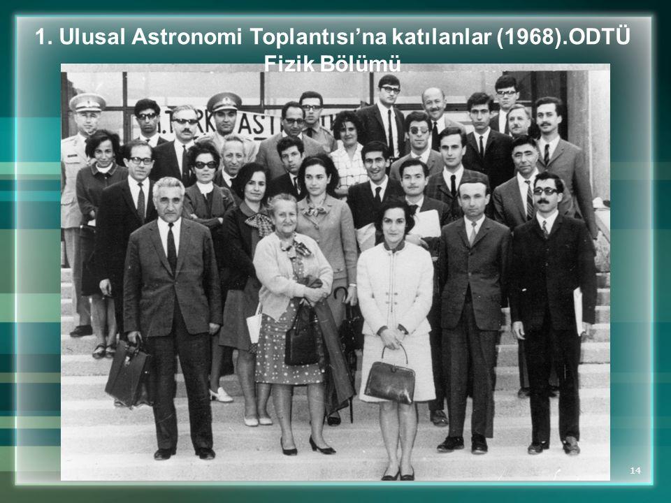 1. Ulusal Astronomi Toplantısı'na katılanlar (1968).ODTÜ Fizik Bölümü
