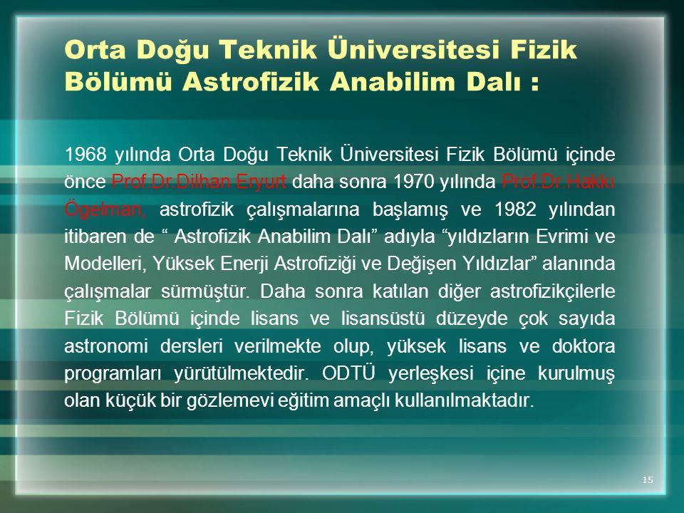 Orta Doğu Teknik Üniversitesi Fizik Bölümü Astrofizik Anabilim Dalı :