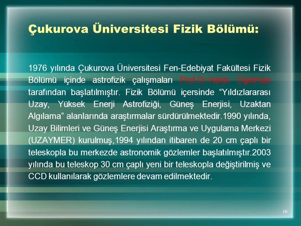 Çukurova Üniversitesi Fizik Bölümü: