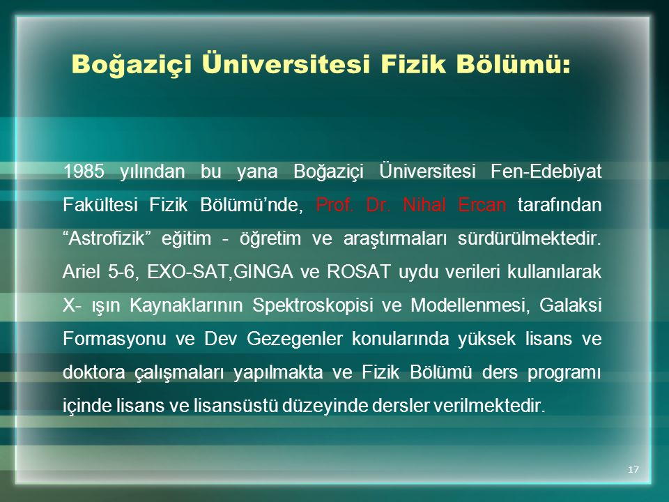 Boğaziçi Üniversitesi Fizik Bölümü: