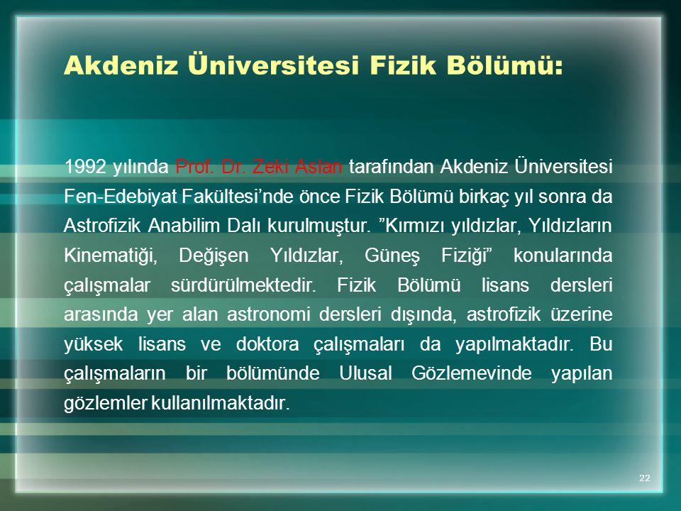 Akdeniz Üniversitesi Fizik Bölümü: