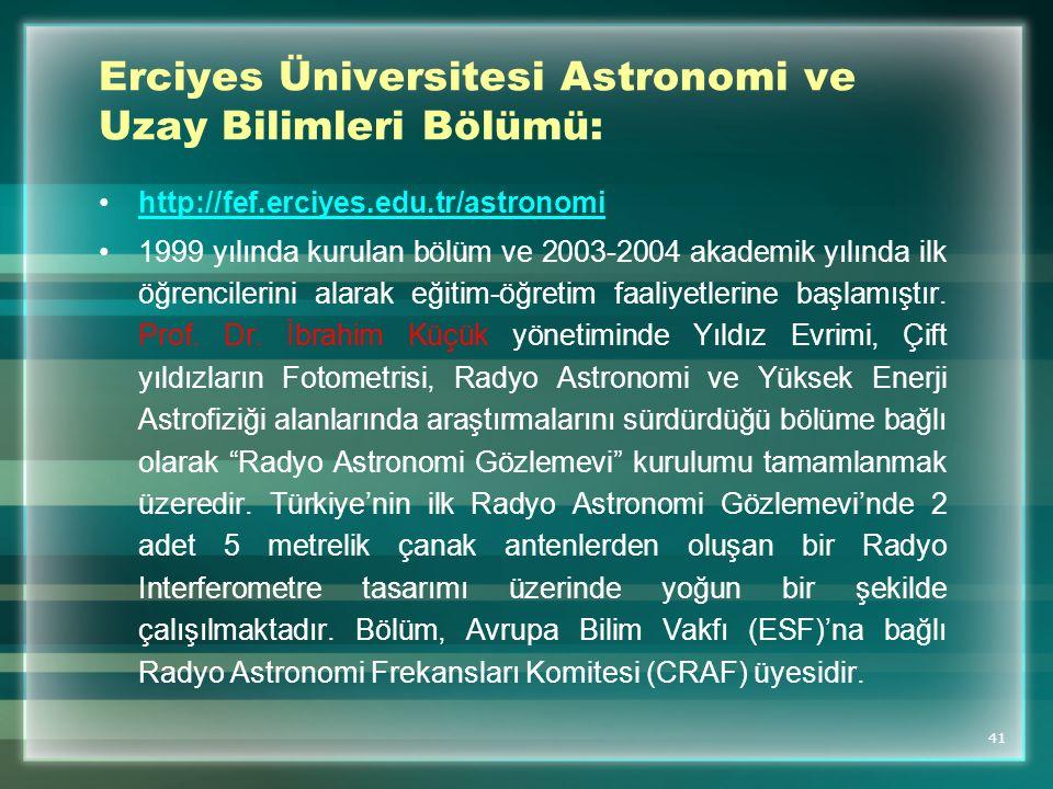 Erciyes Üniversitesi Astronomi ve Uzay Bilimleri Bölümü: