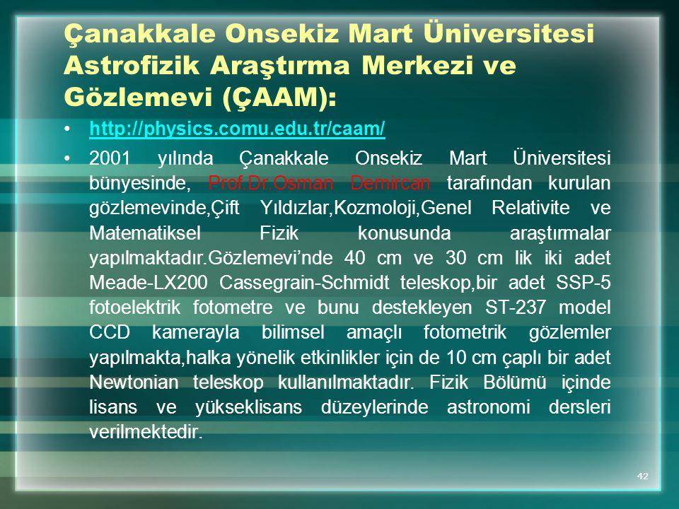 Çanakkale Onsekiz Mart Üniversitesi Astrofizik Araştırma Merkezi ve Gözlemevi (ÇAAM):