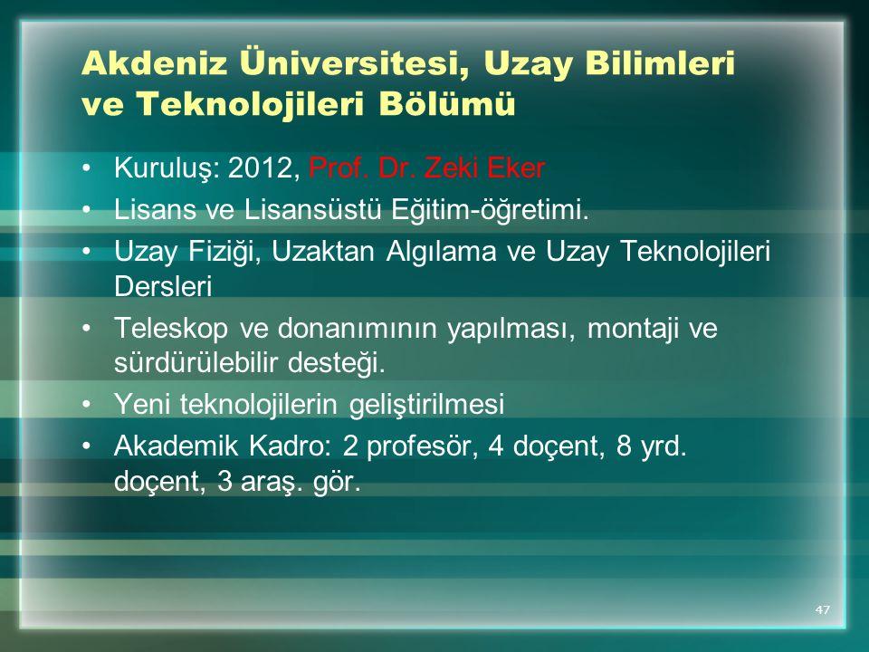 Akdeniz Üniversitesi, Uzay Bilimleri ve Teknolojileri Bölümü