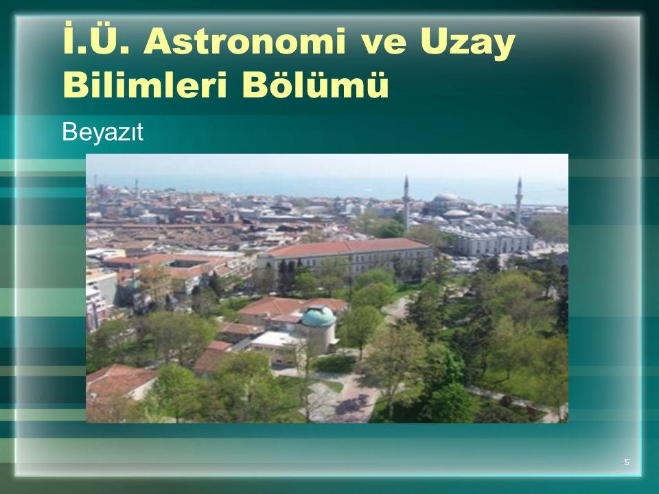 İ.Ü. Astronomi ve Uzay Bilimleri Bölümü
