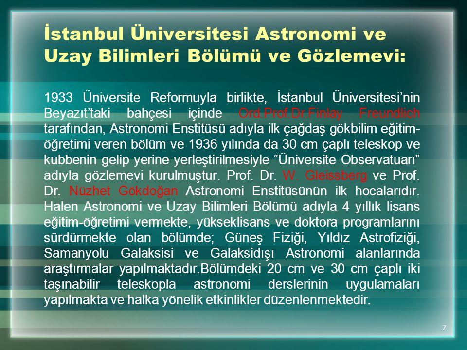 İstanbul Üniversitesi Astronomi ve Uzay Bilimleri Bölümü ve Gözlemevi: