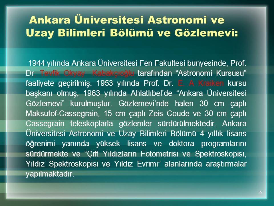 Ankara Üniversitesi Astronomi ve Uzay Bilimleri Bölümü ve Gözlemevi: