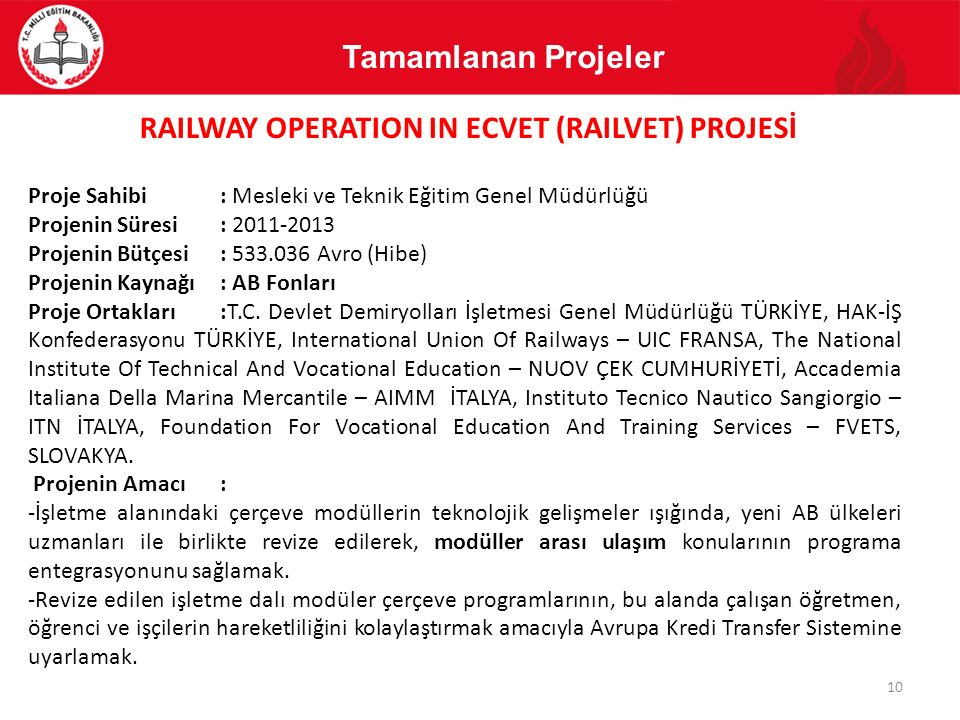 RAILWAY OPERATION IN ECVET (RAILVET) PROJESİ