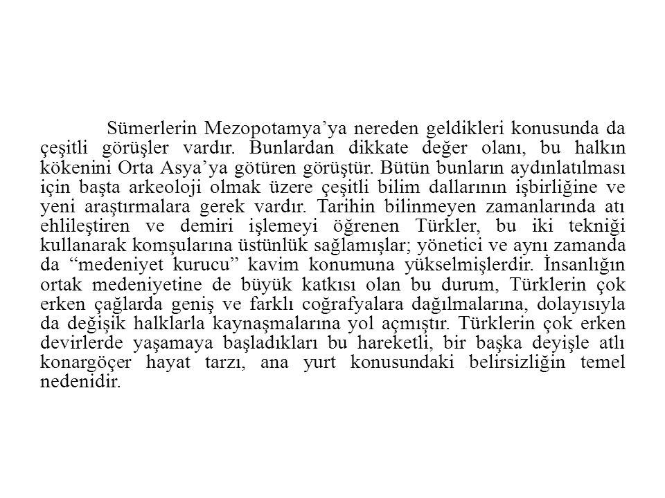 Sümerlerin Mezopotamya'ya nereden geldikleri konusunda da çeşitli görüşler vardır.