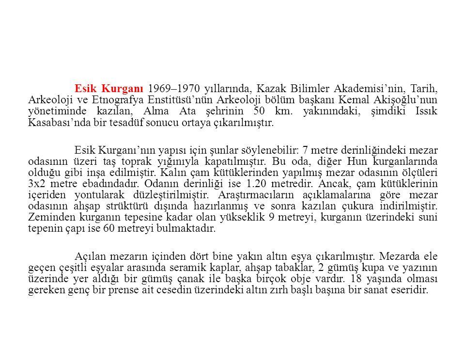 Esik Kurganı 1969–1970 yıllarında, Kazak Bilimler Akademisi'nin, Tarih, Arkeoloji ve Etnografya Enstitüsü'nün Arkeoloji bölüm başkanı Kemal Akişoğlu'nun yönetiminde kazılan, Alma Ata şehrinin 50 km.