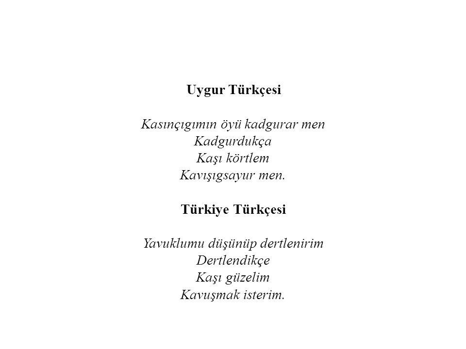 Uygur Türkçesi Kasınçıgımın öyü kadgurar men Kadgurdukça Kaşı körtlem Kavışıgsayur men.