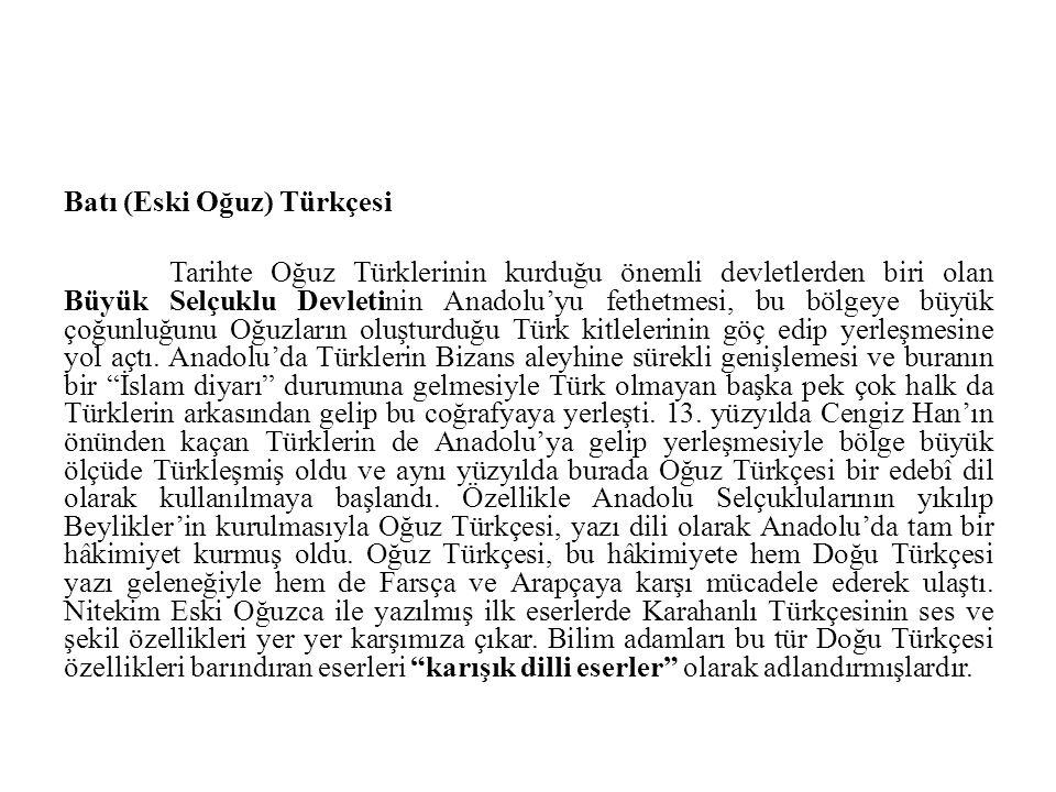 Batı (Eski Oğuz) Türkçesi
