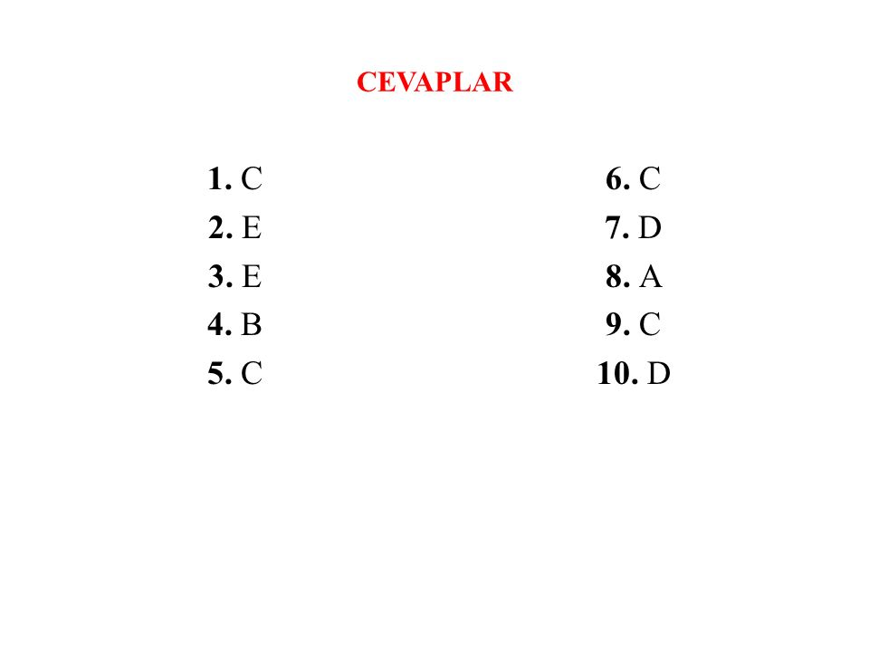 CEVAPLAR 1. C 2. E 3. E 4. B 5. C 6. C 7. D 8. A 9. C 10. D