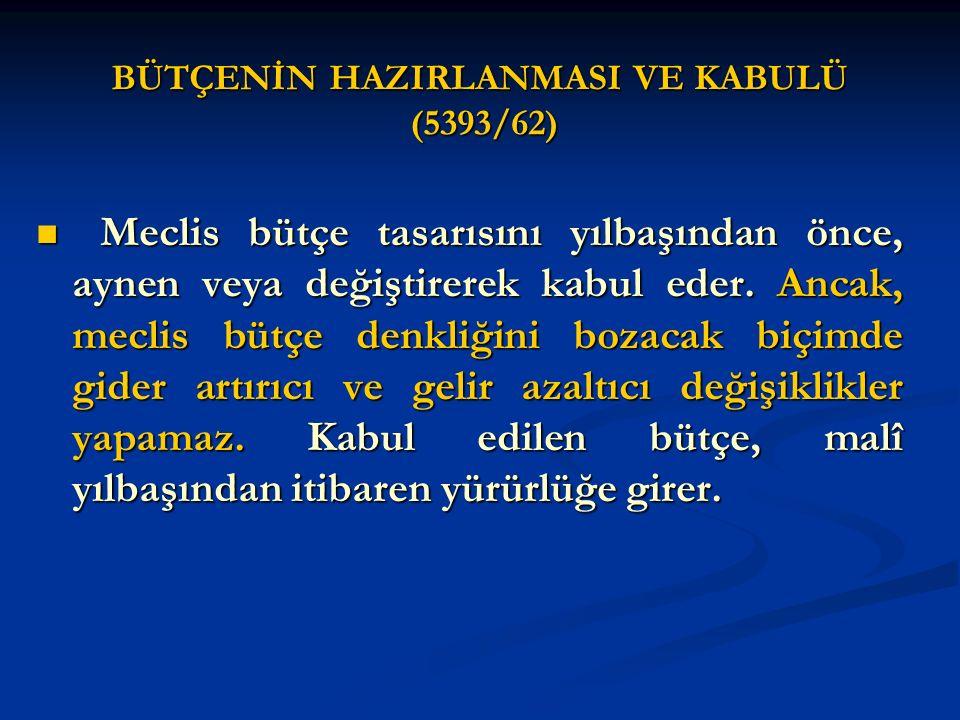BÜTÇENİN HAZIRLANMASI VE KABULÜ (5393/62)