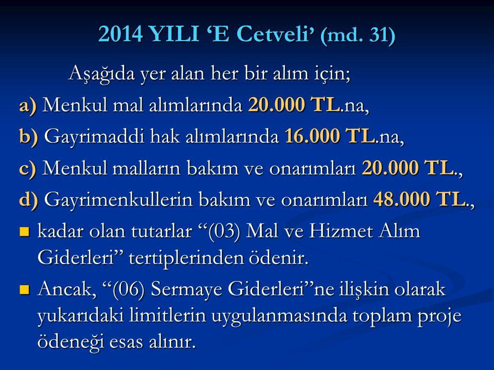 2014 YILI 'E Cetveli' (md. 31) Aşağıda yer alan her bir alım için;