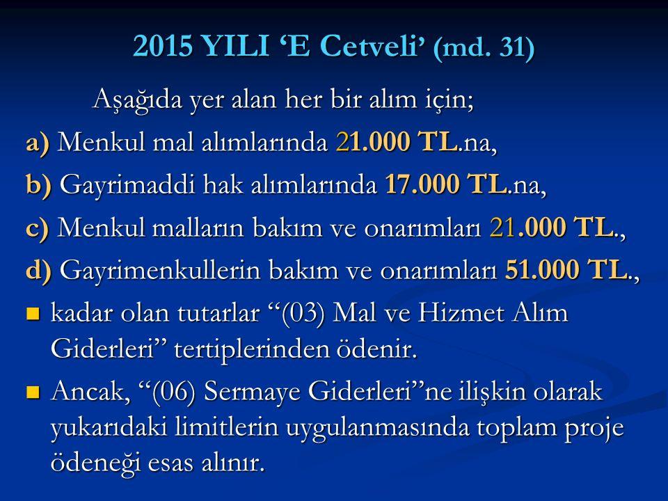 2015 YILI 'E Cetveli' (md. 31) Aşağıda yer alan her bir alım için;