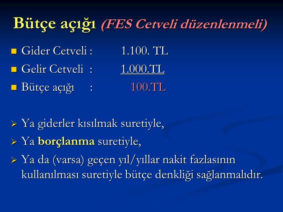 Bütçe açığı (FES Cetveli düzenlenmeli)