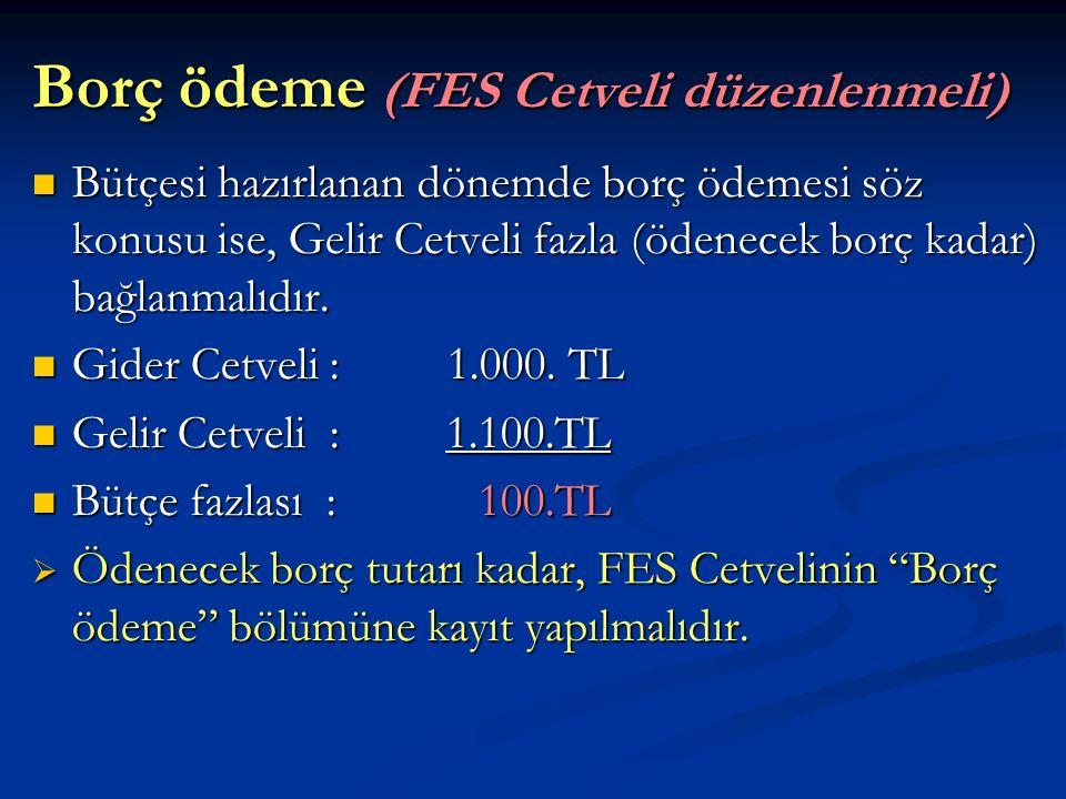 Borç ödeme (FES Cetveli düzenlenmeli)