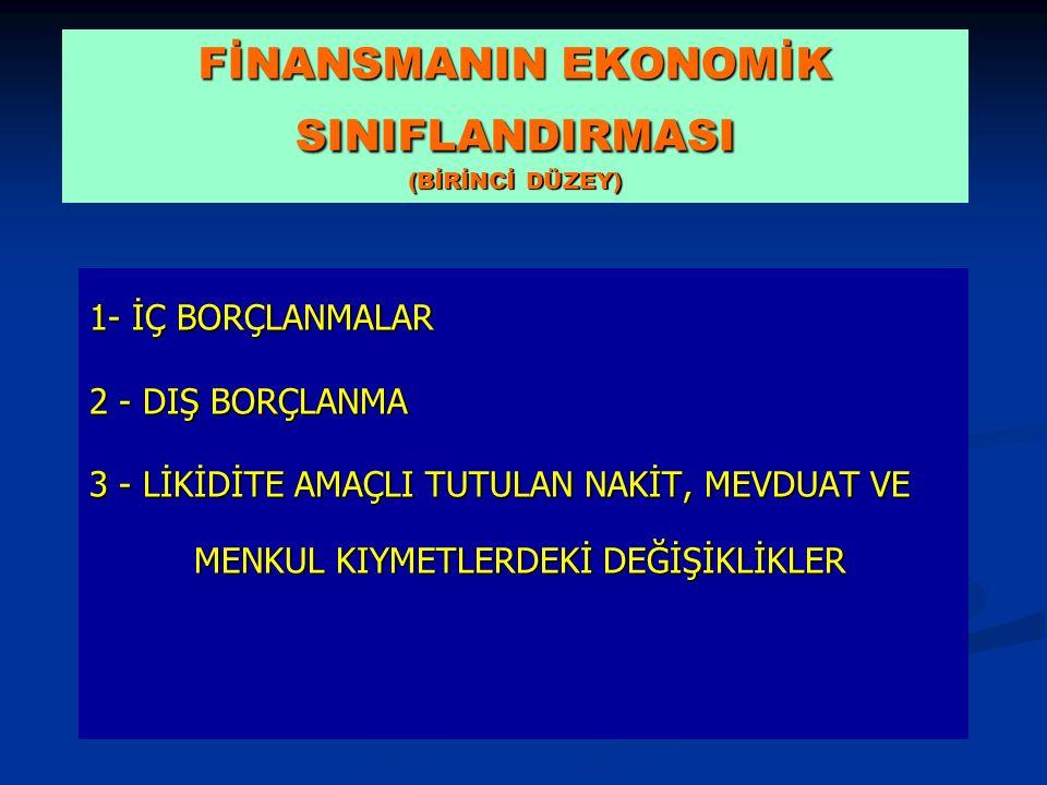 FİNANSMANIN EKONOMİK SINIFLANDIRMASI (BİRİNCİ DÜZEY)