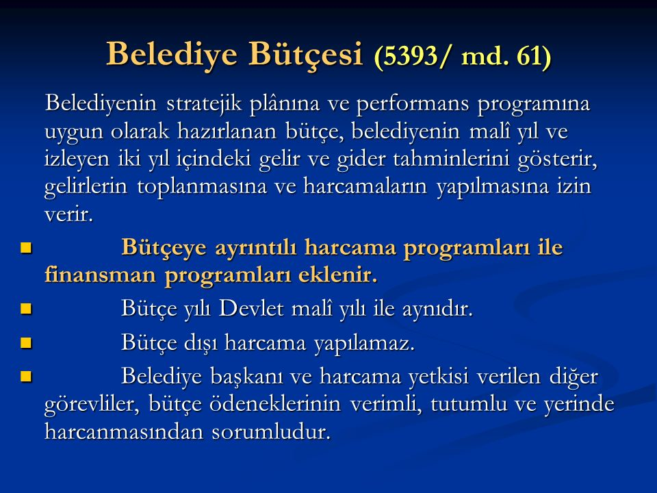 Belediye Bütçesi (5393/ md. 61)
