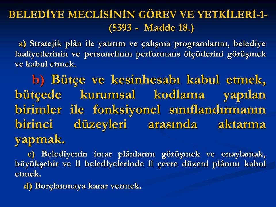 BELEDİYE MECLİSİNİN GÖREV VE YETKİLERİ-1- (5393 - Madde 18.)