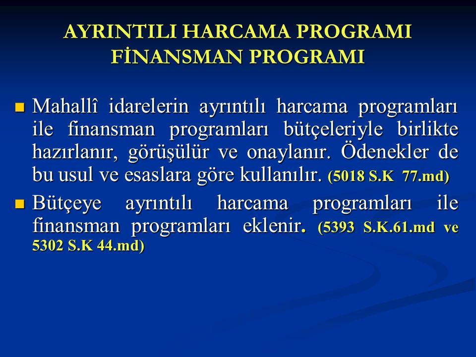 AYRINTILI HARCAMA PROGRAMI FİNANSMAN PROGRAMI