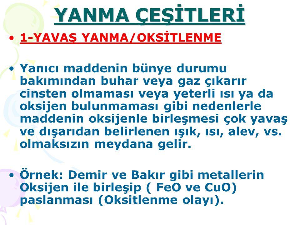 YANMA ÇEŞİTLERİ 1-YAVAŞ YANMA/OKSİTLENME