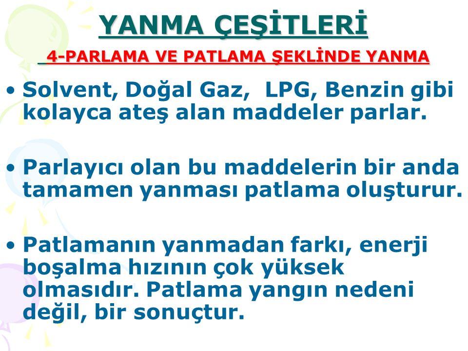 YANMA ÇEŞİTLERİ 4-PARLAMA VE PATLAMA ŞEKLİNDE YANMA