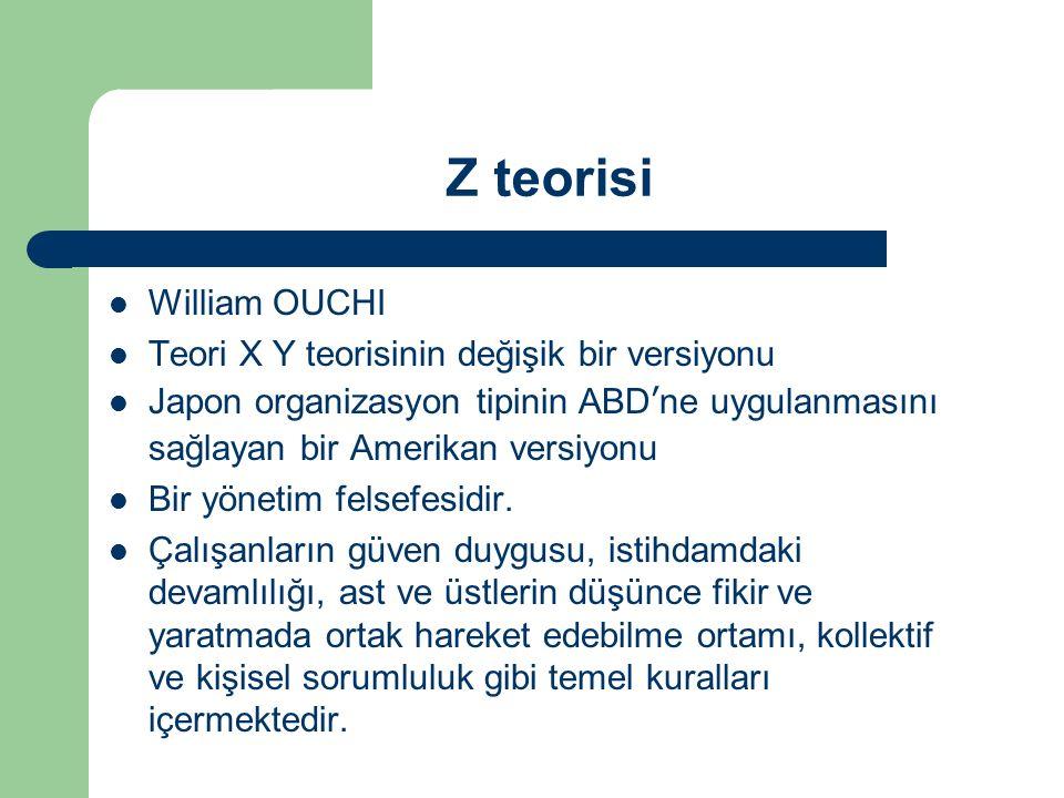 Z teorisi William OUCHI Teori X Y teorisinin değişik bir versiyonu