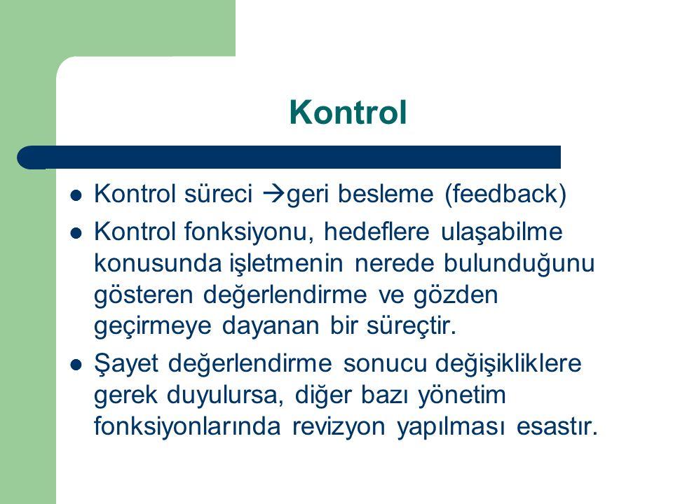 Kontrol Kontrol süreci geri besleme (feedback)