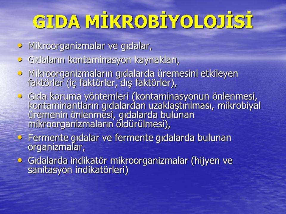 GIDA MİKROBİYOLOJİSİ Mikroorganizmalar ve gıdalar,