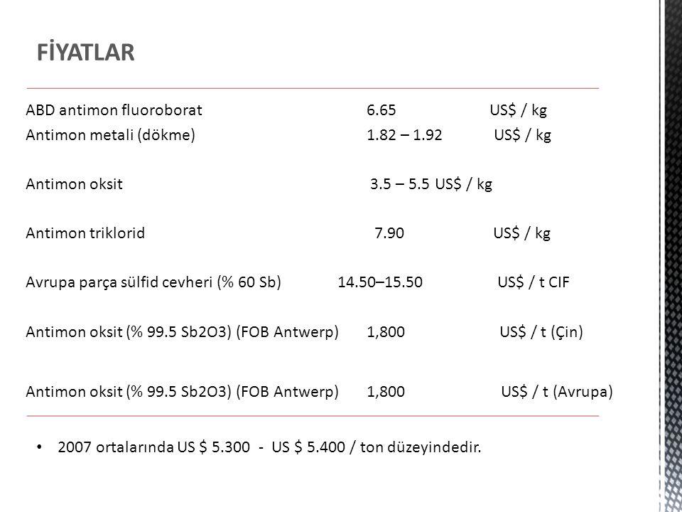FİYATLAR ABD antimon fluoroborat 6.65 US$ / kg