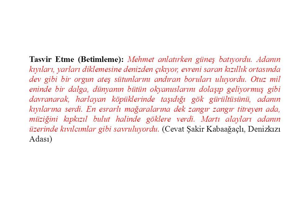 Tasvir Etme (Betimleme): Mehmet anlatırken güneş batıyordu