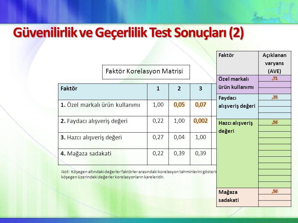 Güvenilirlik ve Geçerlilik Test Sonuçları (2)