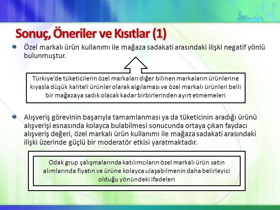 Sonuç, Öneriler ve Kısıtlar (1)
