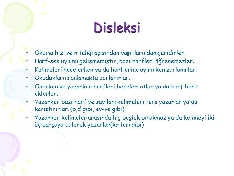 Disleksi Okuma hızı ve niteliği açısından yaşıtlarından geridirler.