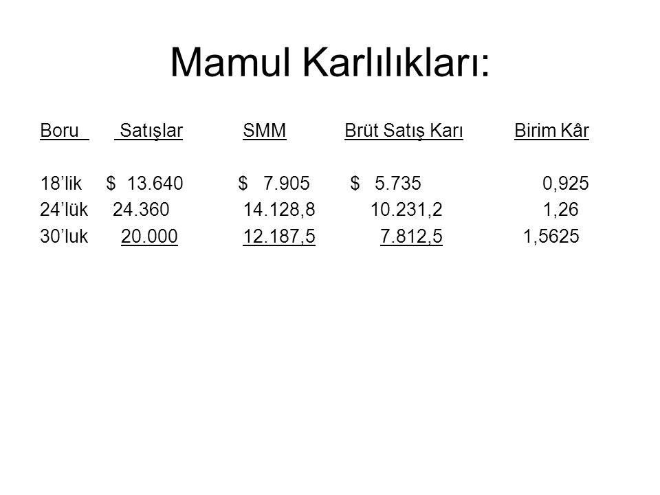 Mamul Karlılıkları: Boru Satışlar SMM Brüt Satış Karı Birim Kâr