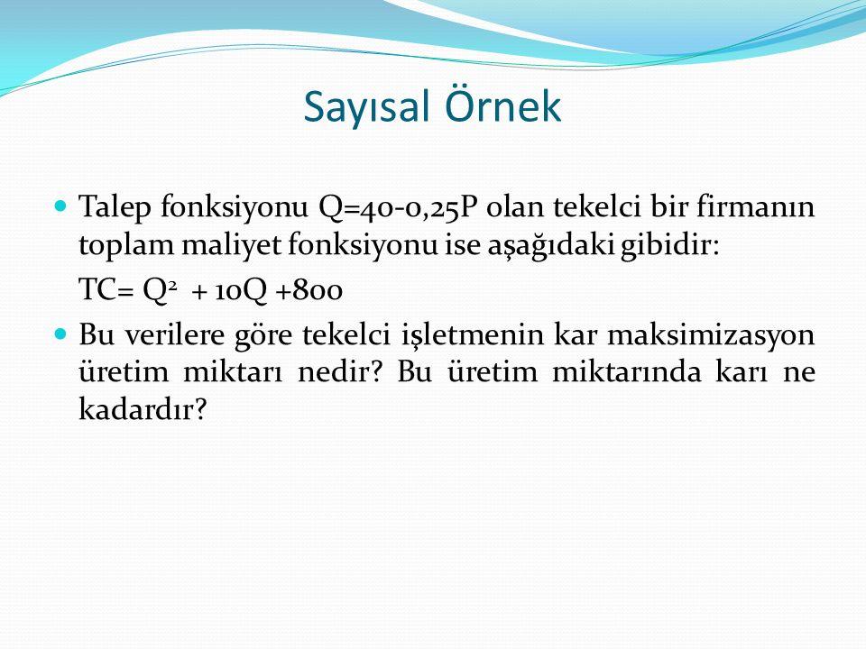 Sayısal Örnek Talep fonksiyonu Q=40-0,25P olan tekelci bir firmanın toplam maliyet fonksiyonu ise aşağıdaki gibidir: