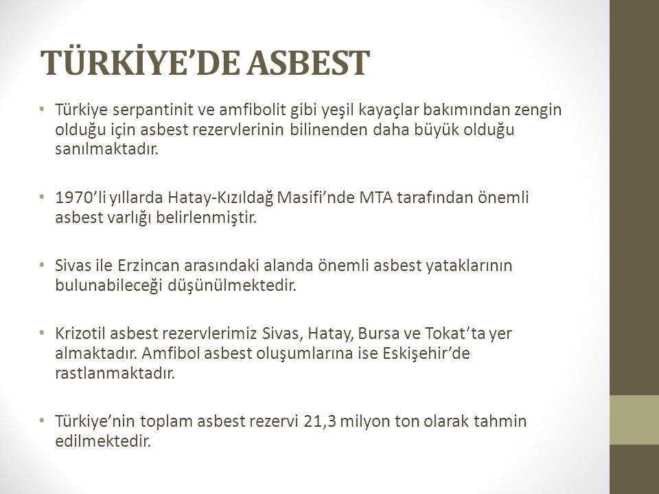TÜRKİYE'DE ASBEST